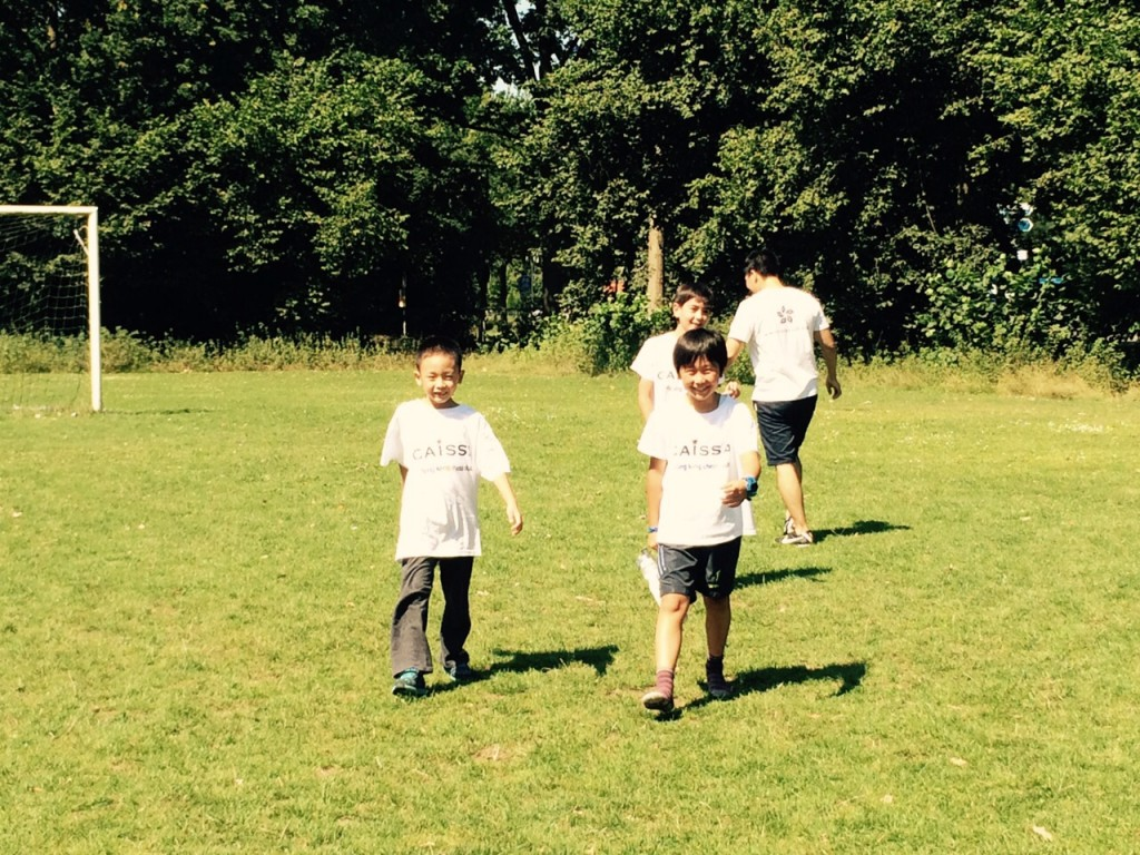 Harold, Jin Wen and Miguel Angel playing football in between the rounds with Matthew and David (not on photo)
