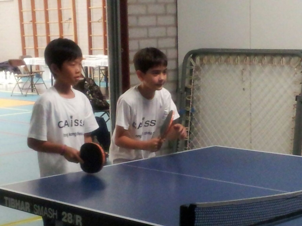 Miguel Angel and Wing Ki table tennis teamwork!